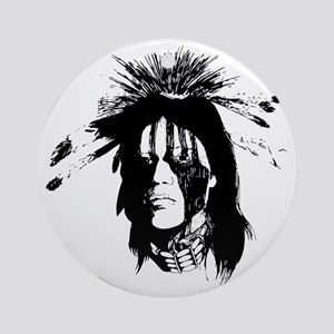 American Indian Warrior with Painte Round Ornament